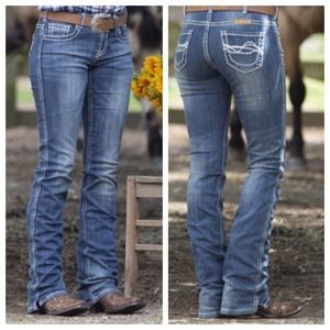"""Cowgirl Tuff Dark  """"Dont Fence Me In"""" Jeans W27L35"""